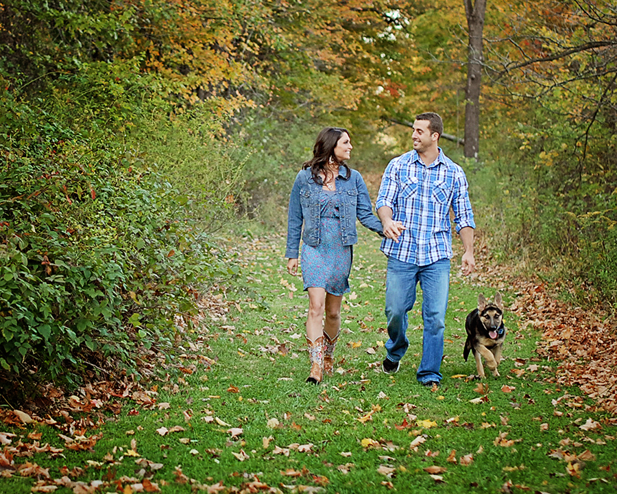 outdoor engagement portraits, outdoor fall engagement pictures, Columbia City engagement photographer, Fort Wayne engagement photographer, family portraits with dog
