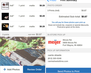 ordering pictures from cell phone, printing pictures from cell phone, Meijer Ap,