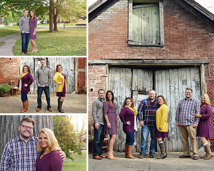 family portraits, Columbia City Family Photographer, Fort Wayne Photographer, family pictures, outdoor family portraits, old door family pictures, extended family portraits, yellow and purple family portraits,