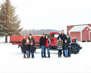 Columbia City Photographer, Winter Family Portraits, Family Portraits with old truck