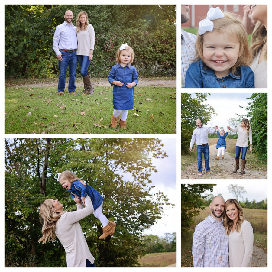 Family of 3 portraits, fall family portraits, Salomon Farms Fort Wayne