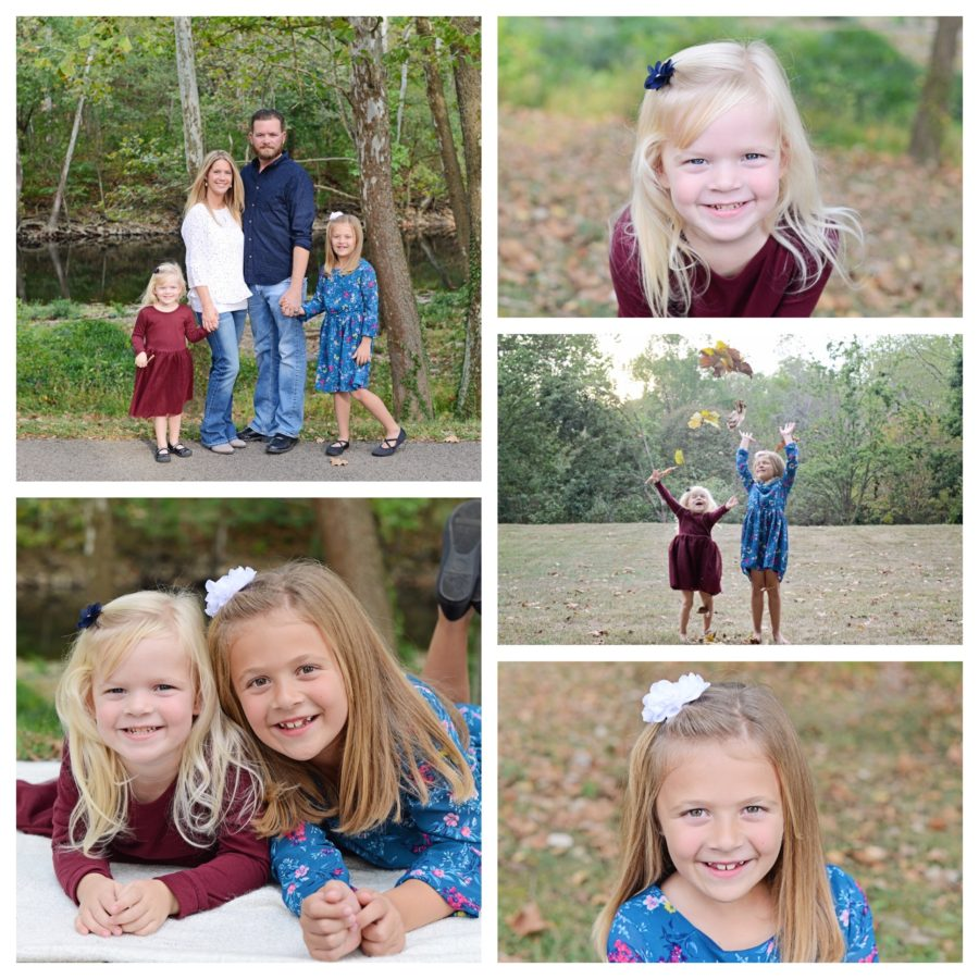 Fall family portraits, family of 4 portraits, children playing in leaves portraits