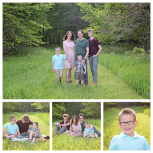 Spring Family Portraits, Family of 5 portraits, Family portraits with boys